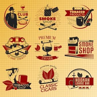 Conjunto de rótulo de tabaco para fumar em cores
