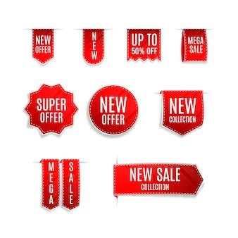 Conjunto de rótulo de vendas realista