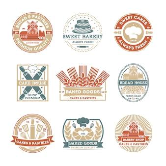 Conjunto de rótulo isolado vintage de loja de padaria