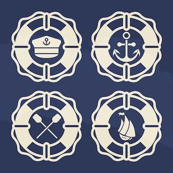 Conjunto de rótulo marinho retrô - bóias de vida com âncora, barco, pás de cruz, boné de capitães