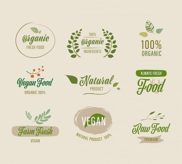 Conjunto de rótulo natural e design de crachás orgânicos.
