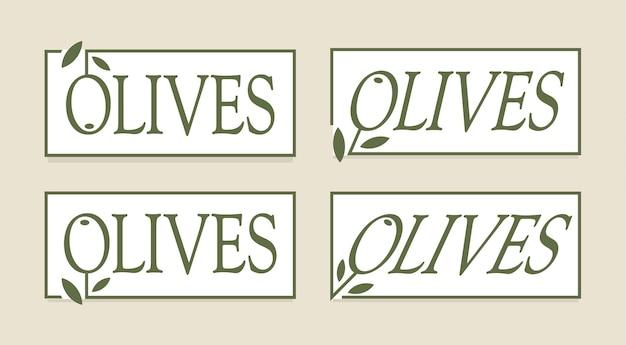Conjunto de rótulo verde-oliva, modelo de logotipos de vetor. coleção de emblemas de alimentos gourmet premium. design de tag simples