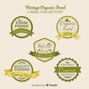 Conjunto de rótulo vintage frutas orgânicas