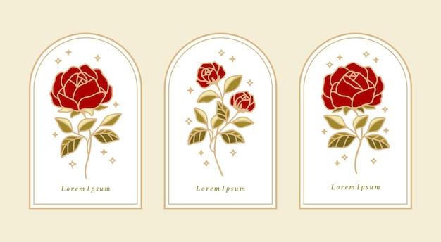 Conjunto de rótulos botânicos vintage com flor rosa e folhas