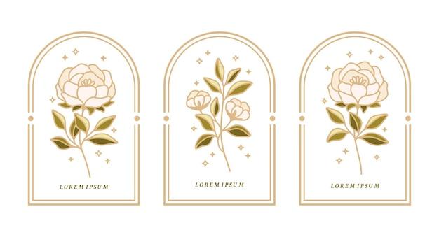 Conjunto de rótulos botânicos vintage com flores de peônia e folhas