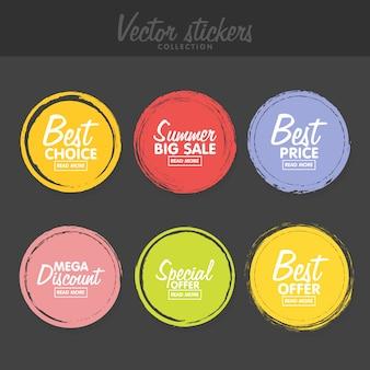 Conjunto de rótulos coloridos vintage para saudações e promoção.