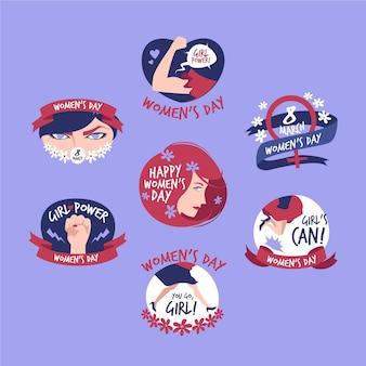 Conjunto de rótulos criativos do dia internacional da mulher