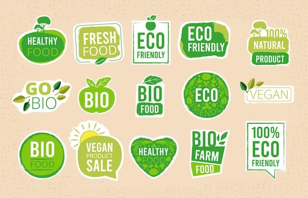 Conjunto de rótulos de alimentos frescos saudáveis ecológicos