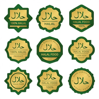 Conjunto de rótulos de alimentos halal ouro e verde