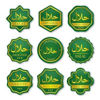 Conjunto de rótulos de alimentos halal verde e dourado