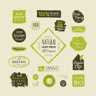 Conjunto de rótulos de alimentos orgânicos e elementos