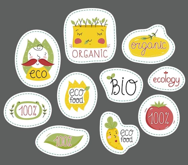 Conjunto de rótulos de alimentos orgânicos, eco e bio.