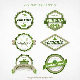 Conjunto de rótulos de alimentos orgânicos em tons verdes