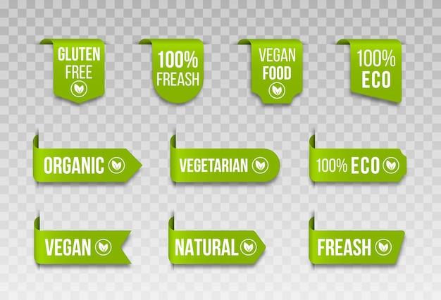 Conjunto de rótulos de alimentos orgânicos