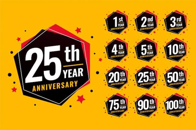 Conjunto de rótulos de aniversário festivo de evento