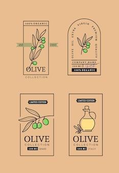 Conjunto de rótulos de azeite de oliva.