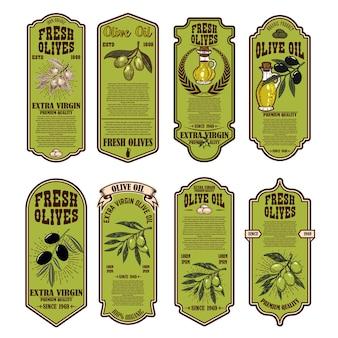 Conjunto de rótulos de azeite fresco. elemento de design para cartaz, cartão, banner, sinal.