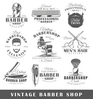 Conjunto de rótulos de barbearia vintage