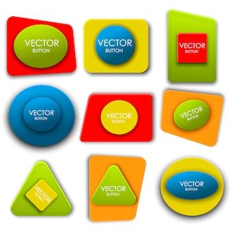 Conjunto de rótulos de botões de vetor abstrato