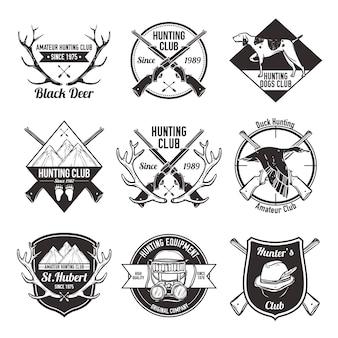 Conjunto de rótulos de caça vintage