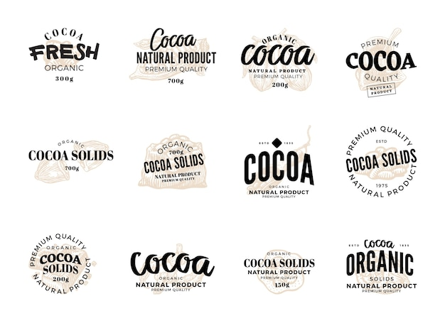 Conjunto de rótulos de cacau isolado com descrições de qualidade premium de produto natural de cacau orgânico fresco