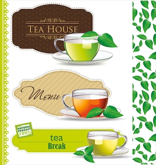 Conjunto de rótulos de café e chá