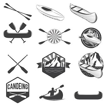 Conjunto de rótulos de canoagem e elementos de design