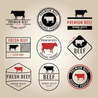 Conjunto de rótulos de carne premium, emblemas e elementos de design. ilustração.