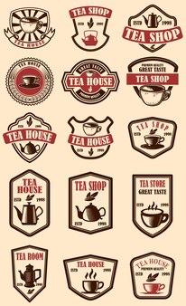 Conjunto de rótulos de casa de chá vintage.