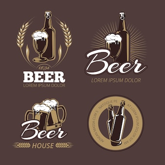 Conjunto de rótulos de cerveja em cores. emblema de cerveja.