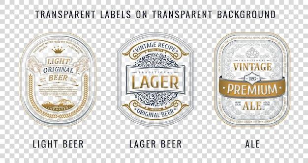 Conjunto de rótulos de cerveja em garrafa vintage, adesivos dourados e molduras em fundo transparente