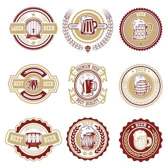 Conjunto de rótulos de cerveja vintage. elementos para o logotipo, etiqueta, emblema, sinal, menu. ilustração