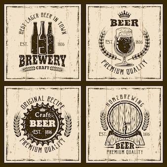 Conjunto de rótulos de cerveja vintage ou modelo de logotipo