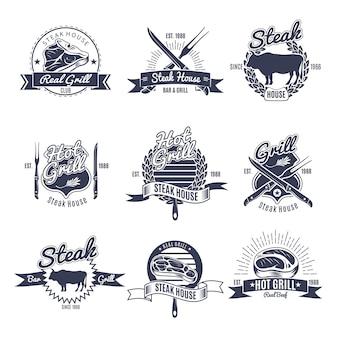 Conjunto de rótulos de churrascaria