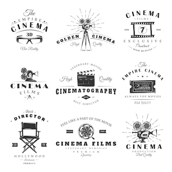 Conjunto de rótulos de cinema vintage. cartazes, selos, banners e elementos de design.