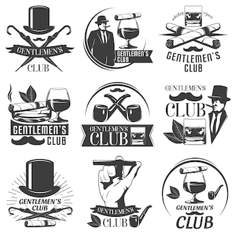 Conjunto de rótulos de clube de cavalheiros