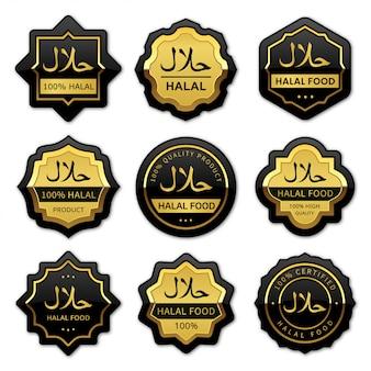 Conjunto de rótulos de comida halal estilo ouro e preto