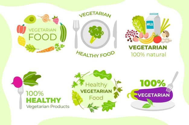 Conjunto de rótulos de comida vegetariana desenhada à mão