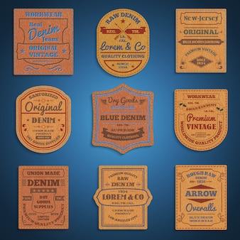 Conjunto de rótulos de denim jeans clássico de couro