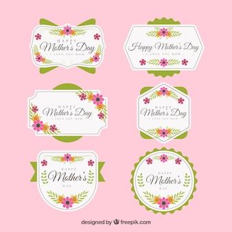 Conjunto de rótulos de dia das mães com flores