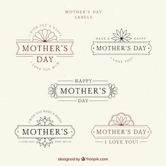 Conjunto de rótulos de dia das mães em estilo vintage