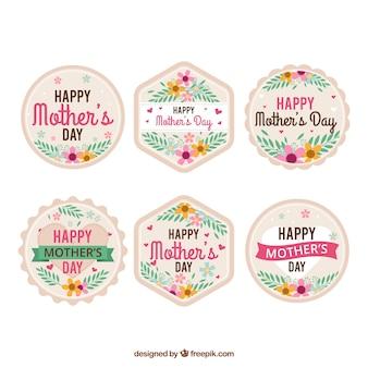 Conjunto de rótulos de dia das mães em flores planas