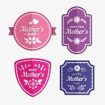 Conjunto de rótulos de dia das mães floral