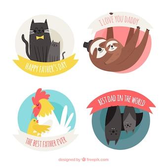 Conjunto de rótulos de dia dos pais com animais fofos em estilo simples