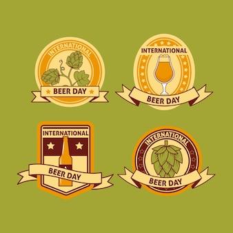 Conjunto de rótulos de dia internacional da cerveja
