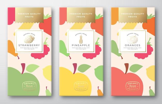 Conjunto de rótulos de embalagens de frutas frescas