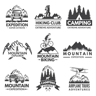 Conjunto de rótulos de explorador. fotos de viagens