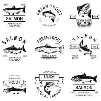 Conjunto de rótulos de frutos do mar de salmão.