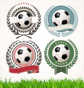 Conjunto de rótulos de futebol com coroas de louros