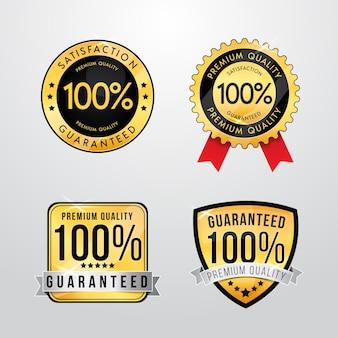 Conjunto de rótulos de garantia de cem por cento